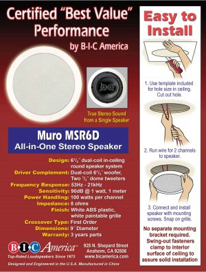 BIC America Muro M-SR6D In-Ceiling Stero Speaker Installation Instructions