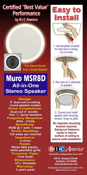 BIC America Muro M-SR8D In-Ceiling Stereo Speaker Installation Instructions